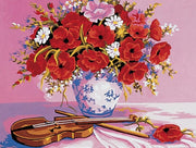 Poppies in a Vase - A Collection d'Art Tapestry Canvas