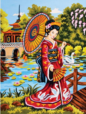 Geisha in Red - A Collection d'Art Tapestry Canvas