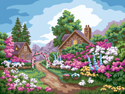 Garden Cottage - A Collection d'Art Tapestry Canvas