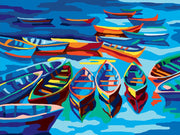 Fishing Boats in the Harbour - A Collection d'Art Tapestry Canvas