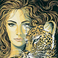 Lady and Jaguar - A Collection d'Art Tapestry Canvas