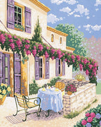 Mediterranean Morning Tea - A Collection d'Art Tapestry Canvas