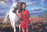 Lady leading a white horse - A Collection d'Art Tapestry Canvas