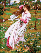 Girl in a Field of Wildflowers - A Collection d'Art Tapestry Canvas