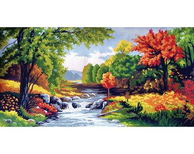 Mountain Stream - A Collection d'Art Tapestry Canvas