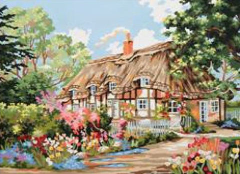 Country Cottage - A Collection d'Art Tapestry Canvas