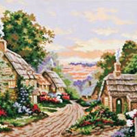 Country Village - A Collection d'Art Tapestry Canvas
