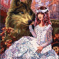Wolf Maiden - A Collection d'Art Tapestry Canvas