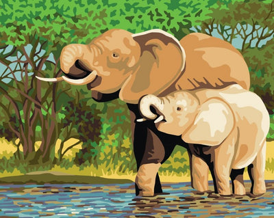 Elephants - A Collection d'Art Tapestry Canvas