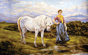 Horse and Peasant Girl - A Collection d'Art Tapestry Canvas