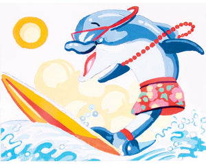 Miss Dolphin Surfboard - A Collection d'Art Needlepoint Tapestry Kit