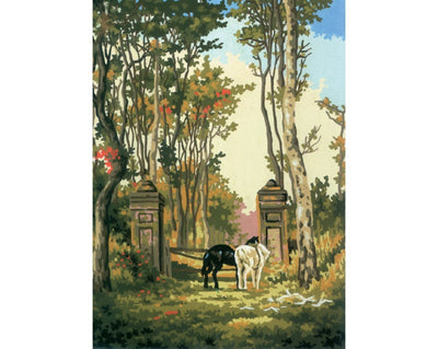 Horses at the Gate - A Collection d'Art Tapestry Canvas