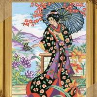 Geisha with Blossoms - A Collection d'Art Needlepoint Tapestry Kit