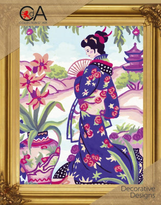 Geisha with Blossoms 2 - A Collection d'Art Needlepoint Tapestry Kit