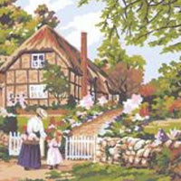 Rose Cottage - A Collection d'Art Tapestry Canvas