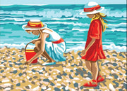 At the Beach - A Collection d'Art Tapestry Canvas