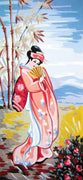Pink Geisha - A Collection d'Art Tapestry Canvas