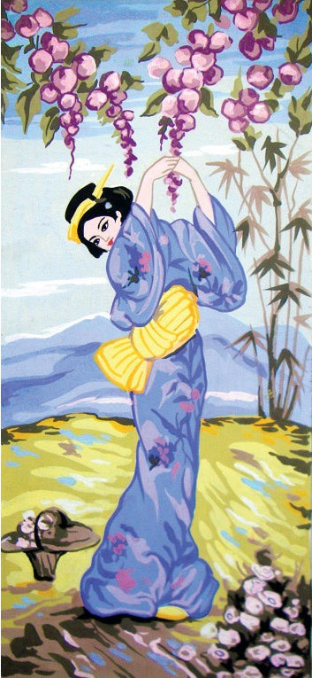 Blue Geisha - A Collection d'Art Tapestry Canvas