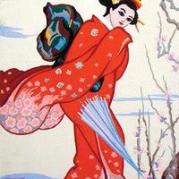 Red Geisha - A Collection d'Art Tapestry Canvas
