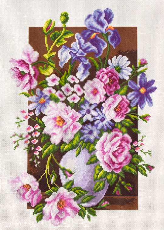 Bouquet of Flowers - Pre-Printed on Aida from Collection d'Art