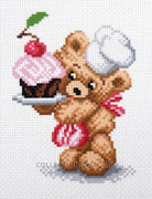 Cake Maker Bear - Pre-Printed on Aida from Collection d'Art