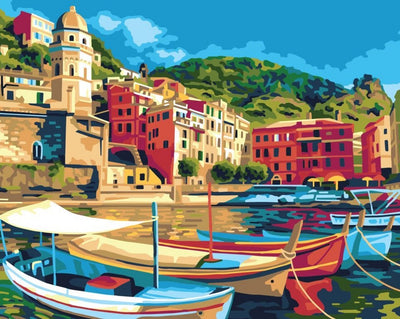Boats in Mediterranean Harbour - A Collection d'Art Tapestry Canvas