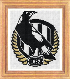 Collingwood Magpies 2018 AFL Cross Stitch Design - stitchaphoto