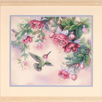 Hummingbird and Fuchsias - a Dimensions Stamped cross stitch kit