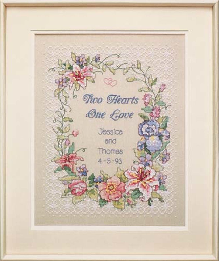 Two Hearts Wedding Record - a Dimensions stamped cross stitch kit