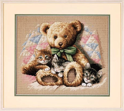 Teddy and Kittens - a Dimensions counted cross stitch kit