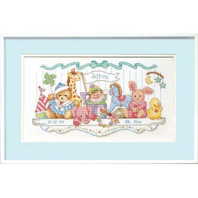 Toy Shelf Birth Record - a Dimensions counted cross stitch kit