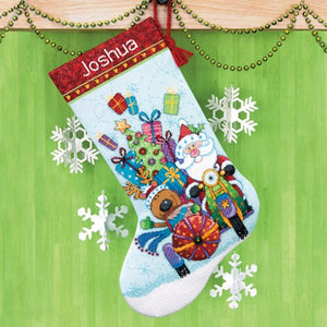 Santas Sidecar Christmas Stocking - a Dimensions cross stitch kit