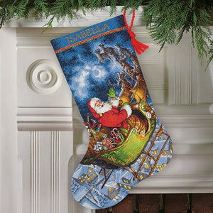 Santas Flight Christmas Stocking - a Dimensions cross stitch kit
