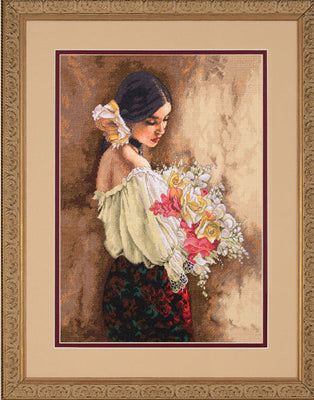 Woman With Bouquet - a Dimensions Gold Collection cross stitch kit