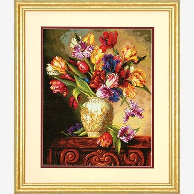 Parrot Tulips - a Dimensions counted cross stitch kit