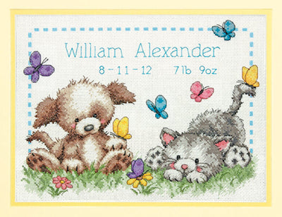 Pet Friends Birth Record - a Dimensions counted cross stitch kit