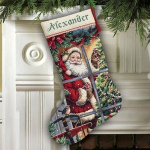 Candy Cane Santa Stocking - a Dimensions cross stitch kit