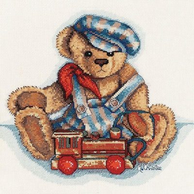 Playtime Bears - Casey and train - A DMC cross stitch kit design by Maureen Christie