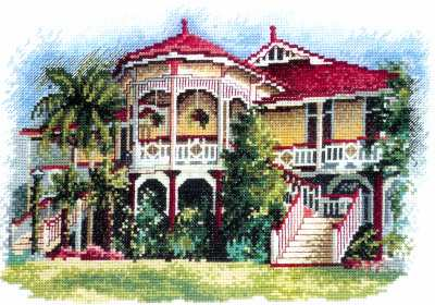 Queenslander Mansion on Wooden Stilts - A DMC cross stitch kit design by Olga Gostin