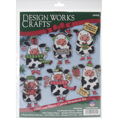 Christmas Cows Tree Decorations - Design Works plastic canvas tree hanger Kits