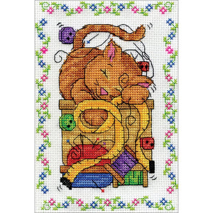 Sewing Cat - a Design Works counted cross stitch kit