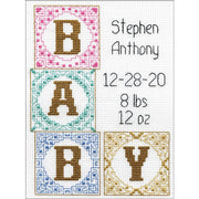 Baby Blocks Birth Record - A Design Works counted cross stitch kit