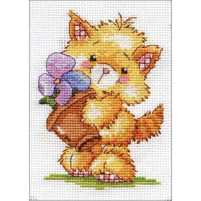 Cat - a Design Works Stitch & Mat counted cross stitch kit
