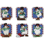 Snowmen Christmas Tree Decorations - Design Works plastic canvas tree hanger Kits