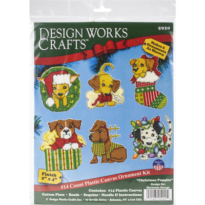 Christmas Puppies Tree Decorations - Design Works plastic canvas tree hanger Kits
