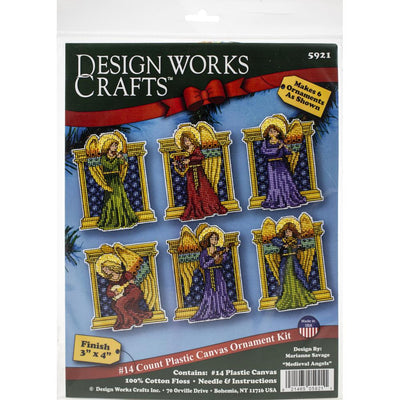 Medieval Angels Christmas Tree Decorations - Design Works plastic canvas tree hanger Kits