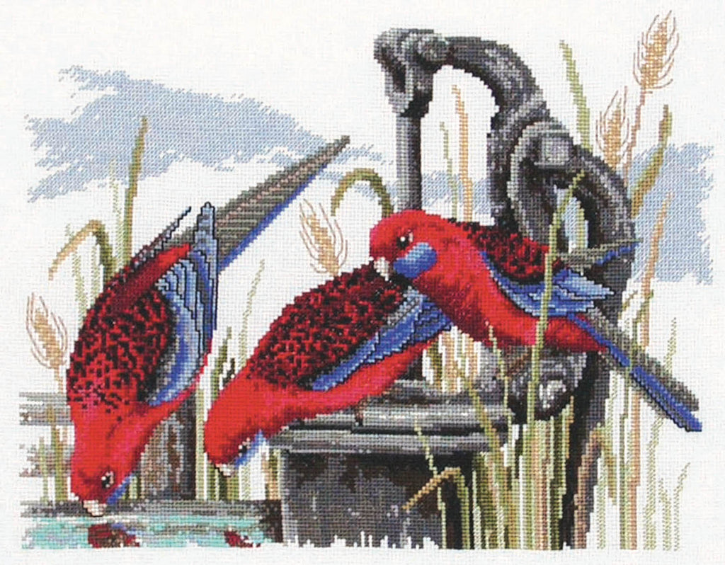 Crimson Rosellas - Country Threads Cross Stitch Chart Booklet