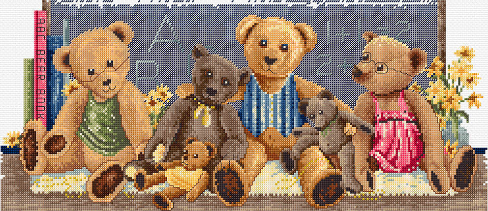 Classroom Teddies - a Country Threads counted Cross Stitch Chart Booklet