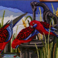 Crimson Rosellas - A Country Threads Longstitch kit