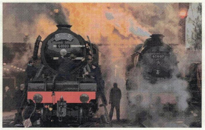 Flying Scotsman on shed Cross Stitch Design - stitchaphoto